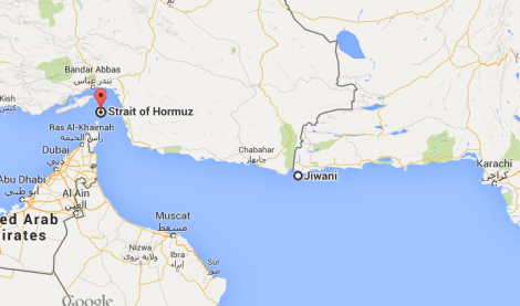 Map shows Strait of Hormuz and Jiwani